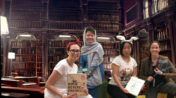 Character Dress up: Rosie Revere Engineer, The Breadwinner, Peter Rabbit, and The Hunger Games